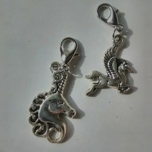 Jewelry - 2 Piece Silver/Pewter Unicorn and Pegasus Charms